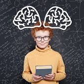 Happy Smart School Boy With Ginger Hair On Science Background. Learn Science And Science Power Conce poster