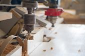 Boring Machine With Nozzle In The Furniture Workshop, Selective Focus poster