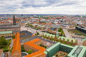 Beautiful Aerial Panoramic View Of The Copenhagen, Denmark. Canals, Old Town,  Tivoli Gardens Amusem poster