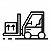 Forklift With Goods Icon. Outline Forklift With Goods Icon For Web Design Isolated On White Backgrou poster