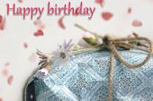 Happy Birthday Gift Box With Flowers. Birthday Gift Present. Close Up Of Gift Box With Natural Twine poster