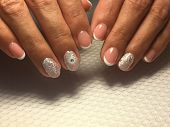 Fashionable French Manicure Manicure With A Brilliant Design poster