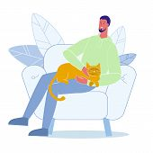Young Man Fondles Cat Flat Vector Illustration. Happy Pet Lover Sitting In Armchair Cartoon Characte poster