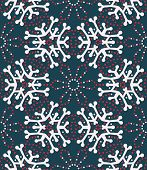 Hand Drawn Abstract Winter Snowflakes Pattern. Stylish Crystal Stars On Greenbackground. Elegant Sim poster