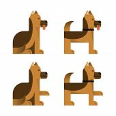 Set Of Flat Icons With Sheepdog. Pedigree Dog. Sitting And Standing. Vector Illustration. poster