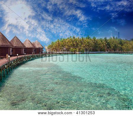 Island in ocean overwater villas