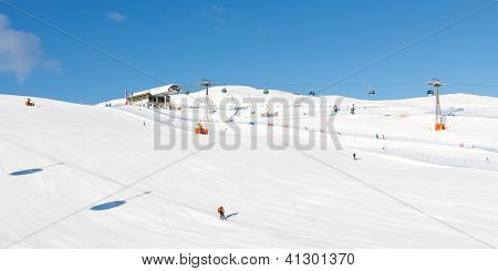 Ski Slope On A Beautiful Winter Day