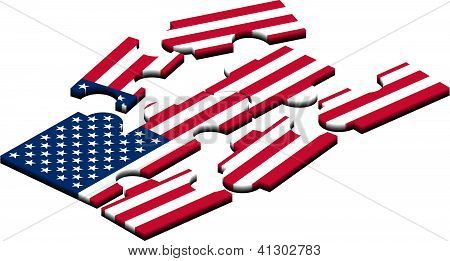 Usa Flag Jigsaw.eps