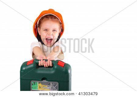 Happy Little Builder Girl