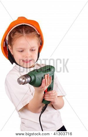 Pretty Little Girl With Drill