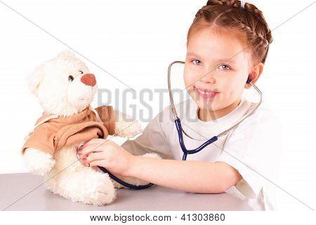 Smiling Little Doctor Girl