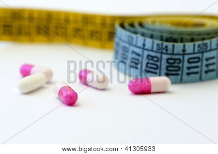 Diet - Measuring Tape And Pills