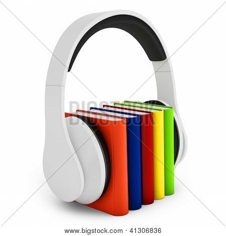 3D Headphones With Books Audio-book Concept