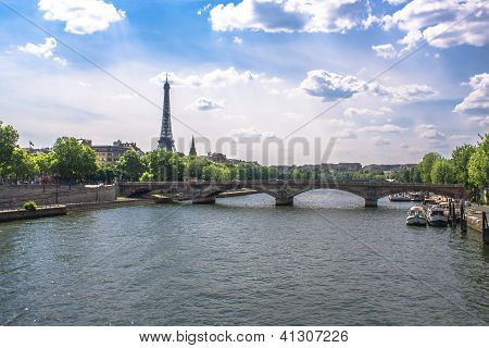Bridge Accross The Seine In Paris, France