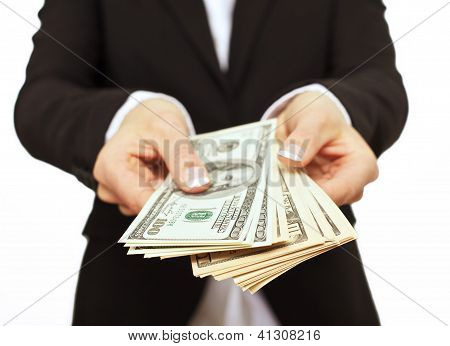 Business Executive Giving Bribe Money