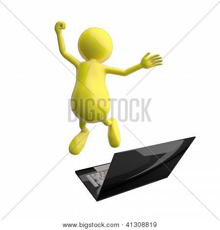 3D People Happy Jumping In Front Of Laptop