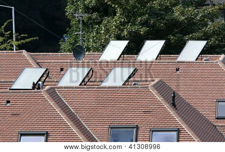 Solar hot water panel arrays