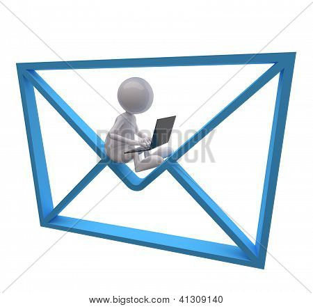 3D People With Blue Mail Icon And Laptop