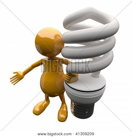 3D People With Energy Saving Lighting Bulb