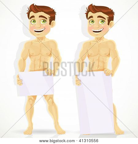 Cute naked man with posters for your message