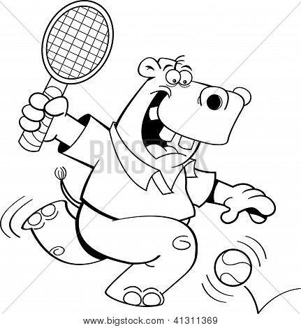 Cartoon hippo playing tennis