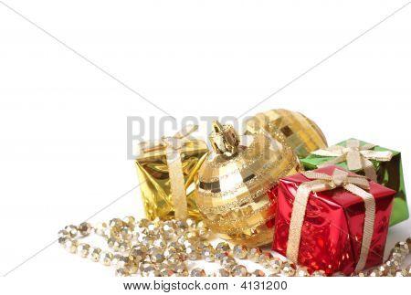 Christmas Gift Boxes And Balls On White