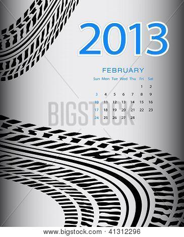 2013 February Calendar With Special Black Tire Design