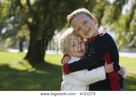 Young Brothers Hugging