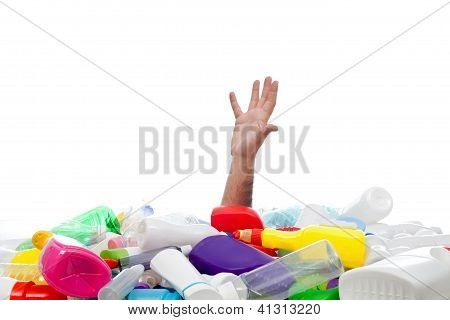 Environment Concept With Human Hand And Plastic Recipients