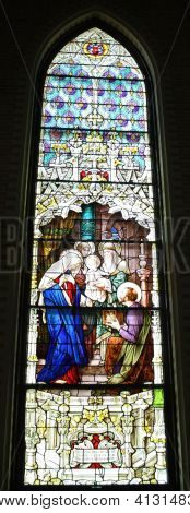 Stained Glass Mary Joseph Present Jesus