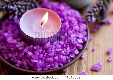 Candle In A Saucer With Salt Baths And Sprigs Of Lavender