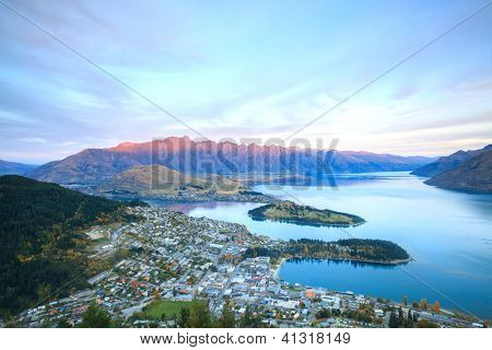 Aerial Cityscape View of Queenstown New Zealand Sunset