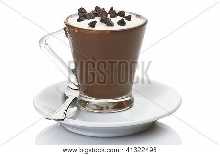 hot coffee with milk cream