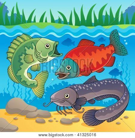 Freshwater fish theme image 3 - vector illustration.