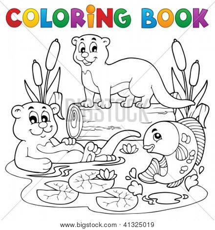 Coloring book river fauna image 3 - vector illustration.
