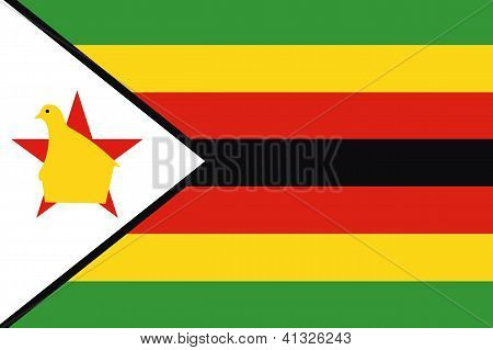 Illustrated Drawing of the flag of Zimbabwe