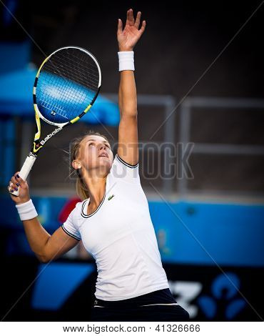 MELBOURNE - JANUARY 19: Lesia Tsurenko of Ukraine in her third round loss to Caroline Wozniacki of Denmark  at the 2013 Australian Open on January 19, 2013 in Melbourne, Australia.