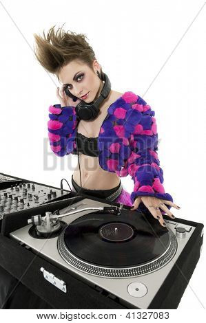 Punk DJ over white background