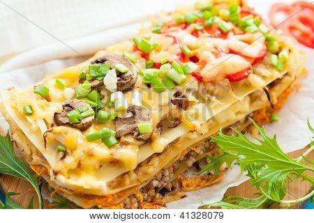 Freshly Baked Homemade Vegetables Lasagna