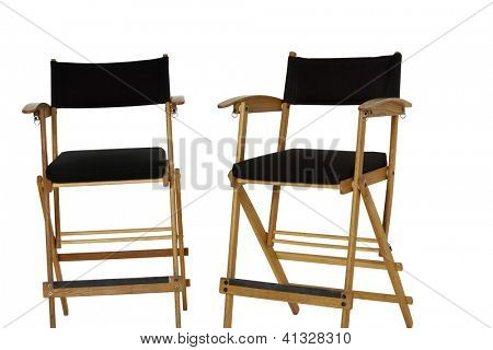 Two empty director's chair over white background