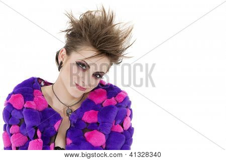 Portrait of young punk woman over white background