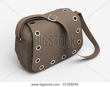 Women's grey handbag with studs on light background