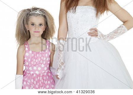 Portrait of bridesmaid holding bride's hand