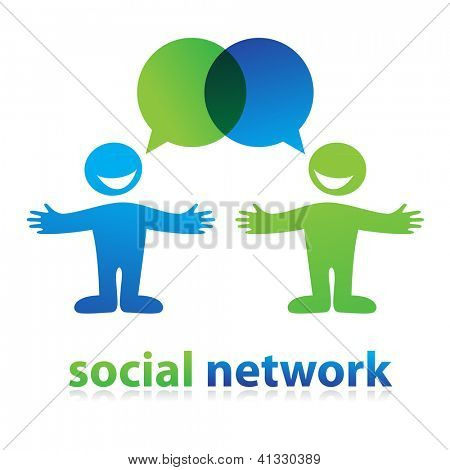 Sign of the social network. Dialogue of two persons. vector