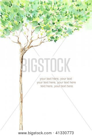 Painted watercolor card with tree and text