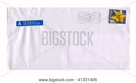 SWITZERLAND - CIRCA 2012: Mailing envelope with postage stamps dedicated to flower Lycopersicon Lycopersicum, circa 2012.