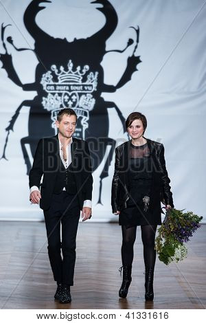 PARIS - JANUARY 23, 2013 : fashion designers Livia Stoianova and Yassen Samouilov at on aura tout vu spring summer 2013 fashion show at Paris fashion week January 23, 2013 in Paris ,France