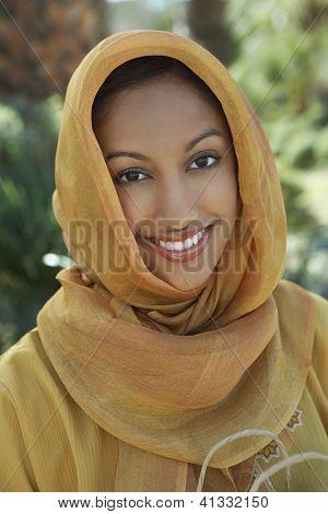 Portrait of a happy Indian woman wearing dupatta
