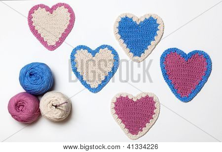 White Pink Blue Crochet Knitted Heart