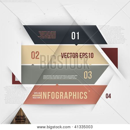 Modern abstract banner design for infographics, business design and website templates, cutout lines and numbers, retro colors. Esp 10 vector illustration
